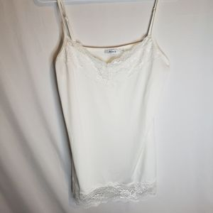 Rickis cream white silky with lace under tank